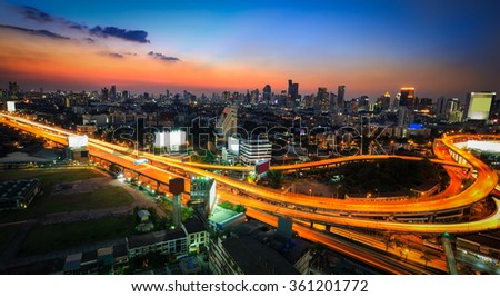 Cityscape in the night of Bangkok Thailand