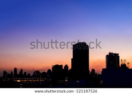 Cityscape in twilight