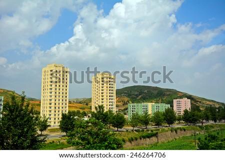Cityscape, Kaesong, North-Korea - stock photo