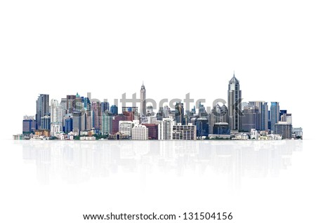cityscape, modern building on a white background. - stock photo