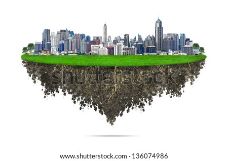 Cityscape, modern building on a white background, concept ECO. - stock photo