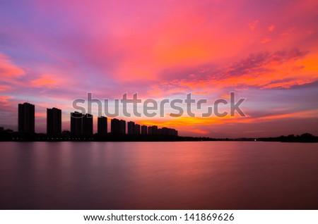 CItyscape modern residential building near the Bangkok sunset sky beautiful. - stock photo