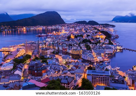 Cityscape of Alesund Norway - architecture background - stock photo