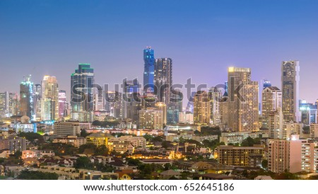 cityscape of Bangkok city skyline at night  , landscape Thailand