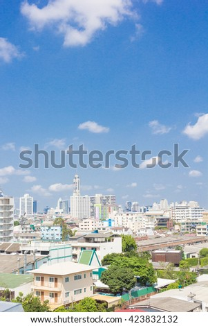 Cityscape of Bangkok on the roof top - stock photo
