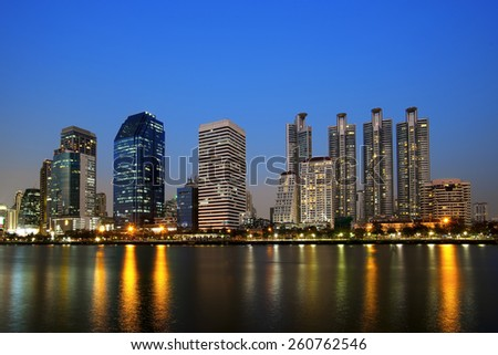 cityscape of bangkok with beautiful sky background