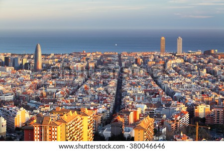 Cityscape of Barcelona, Spain - stock photo
