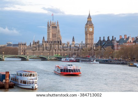 Cityscape of Big Ben and Westminster Bridge with river Thames London England UK - stock photo