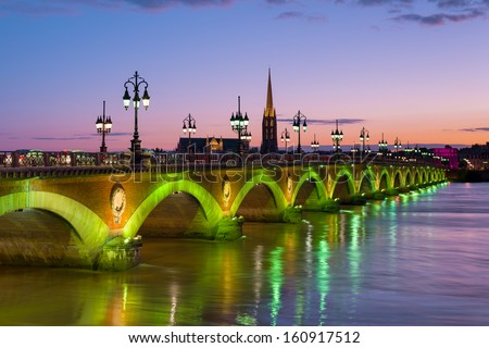 Cityscape of Bordeaux at a summer night - stock photo