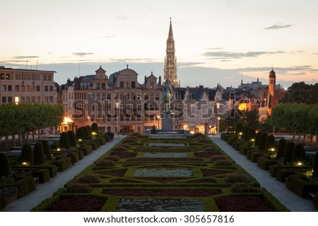 Cityscape of Brussels from Mont des Arts at dusk - stock photo