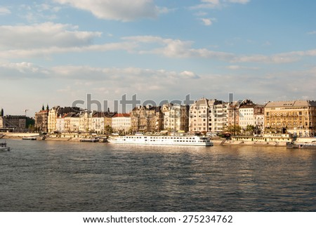 Cityscape of Budapest in warm sunlight. Tourist destination sight. Beautiful photography of the european city. - stock photo