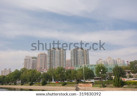 Cityscape of Buildings in Tianjin,China with sky background.