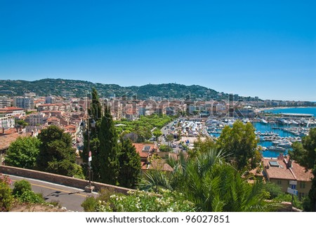 Cityscape of central Cannes  and marina, France - stock photo
