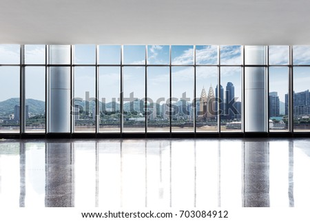 cityscape of chongqing in blue cloud sky from window