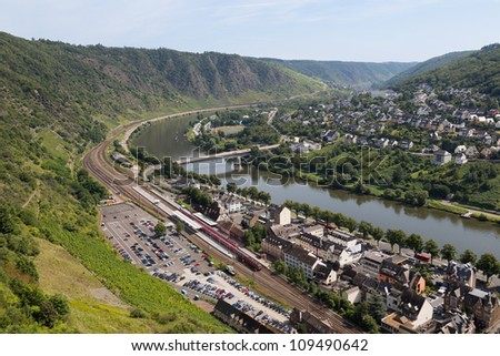 Cityscape of Cochem, historic German city along the river Moselle - stock photo