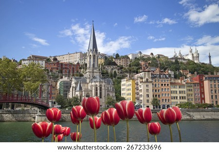 cityscape of colorful old lyon france with red tulips  - stock photo
