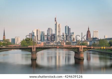 Cityscape of Frankfurt am Main skyline at morning, Frankfurt, Germany.  - stock photo