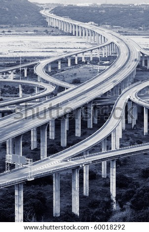 Cityscape of freeway in day in blue color. - stock photo