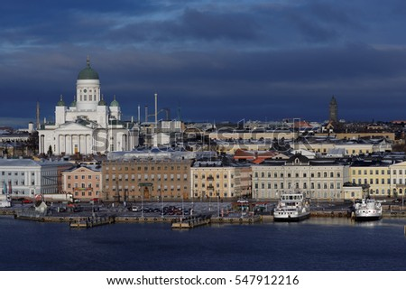 Cityscape of Helsinki, the capital city of Finland