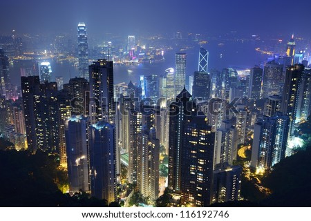 Cityscape of Hong Kong Island from Victoria Peak. - stock photo