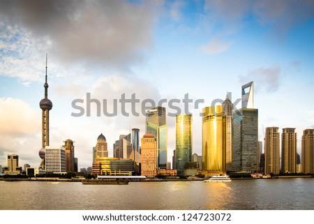 cityscape of huangpu river in shanghai,China - stock photo