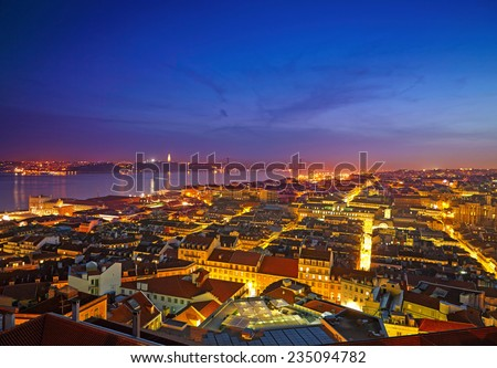 Cityscape of Lisbon in Portugal after sunset - stock photo