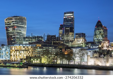 Cityscape of London at night, UK. - stock photo