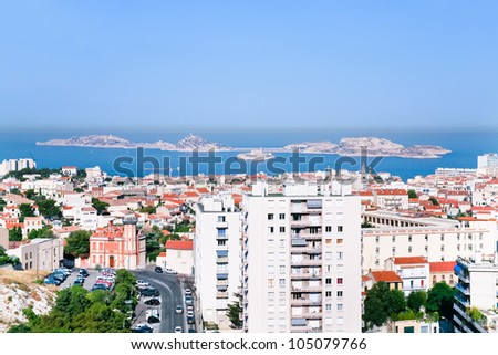 cityscape of Marseille and view on Chateau d'If near, France - stock photo