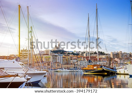 Cityscape of Marseille in the morning, Provence, France - stock photo