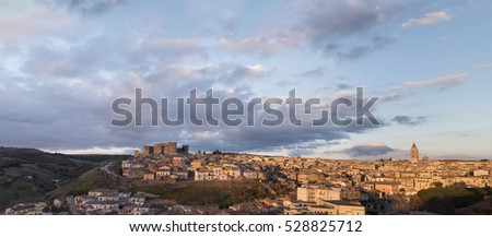 Cityscape of Melfi at the sunset. Basilicata, southern Italy.