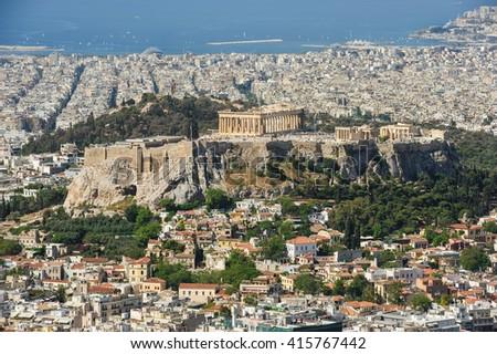 Cityscape of modern Athens, Greece - stock photo