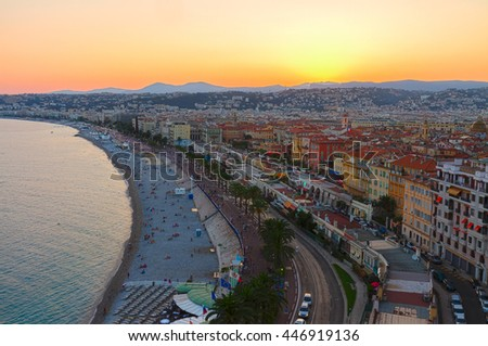 cityscape of Nice city with beach and sea at sunset, France