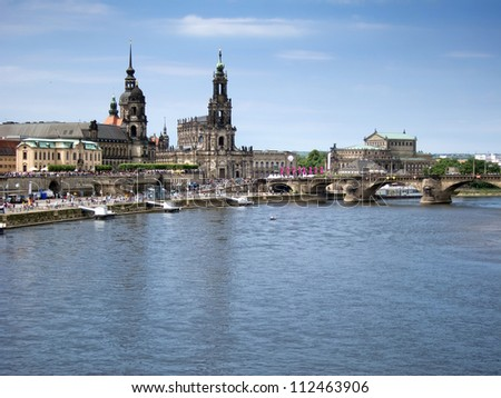 Cityscape of old Dresden, Elbe River, Germany - stock photo