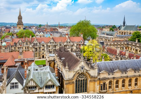Cityscape of Oxford City. Oxfordshire, England, UK