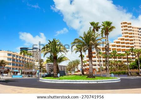 Cityscape of Playa del Ingles. Maspalomas. Gran Canaria. - stock photo