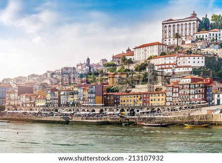 Cityscape of Porto on sunset, Portugal - stock photo
