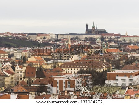 Cityscape of Prague city from hill