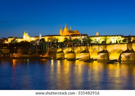 Cityscape of Prague in a summer night - stock photo