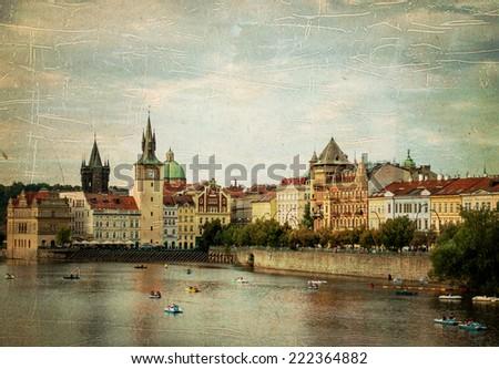Cityscape of Prague, the capital of Czech Republic, vintage stylized - stock photo