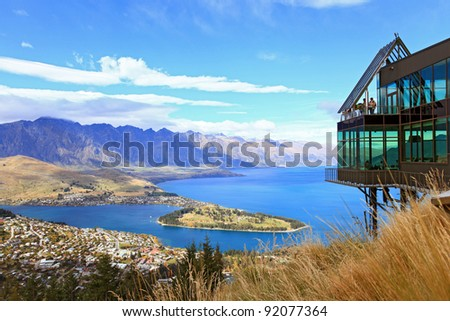 Cityscape of queenstown with lake Wakatipu from top, new zealand, south island - stock photo