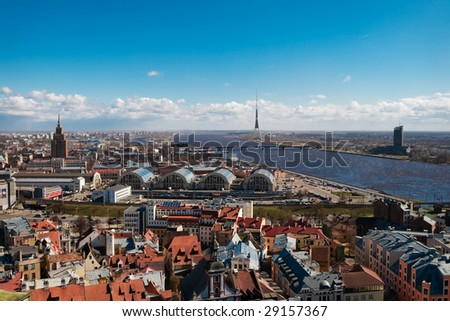Cityscape of riga, view on the river and TV tower - stock photo