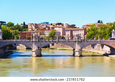 Cityscape of Rome. The Tiber River. - stock photo