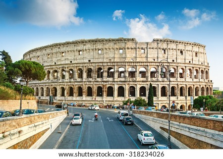 Cityscape of Rome with Colosseum, Rome, Italy - stock photo
