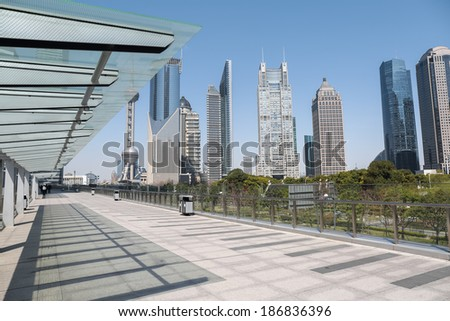 cityscape of shanghai financial center on sightseeing platform bridge
