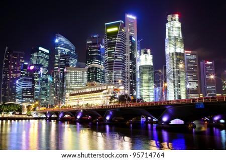 cityscape of Singapore at night - stock photo