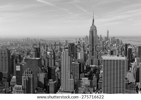 Cityscape of skyscrapers and buildings with Manhattan skyline in New York City - stock photo