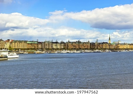 Cityscape of Stockholm embankment with beautiful sky, Sweden