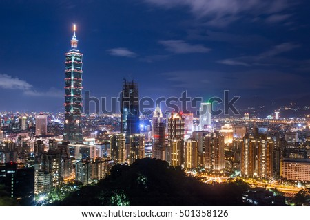 Cityscape of taipei viewpoint. Landmark destinations in Taiwan.