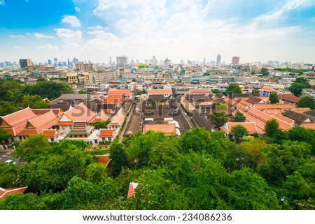 Cityscape of temple area and building on blue sky at Bangkok, Thailand