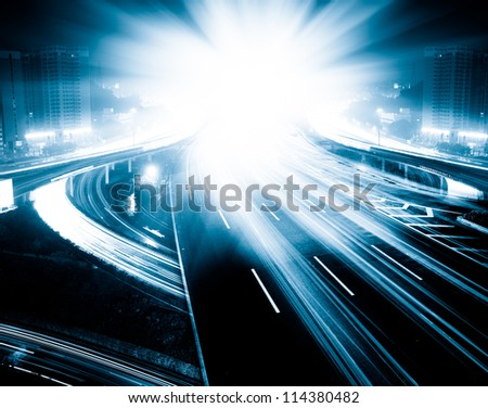cityscape of the highways in shanghai at night. - stock photo